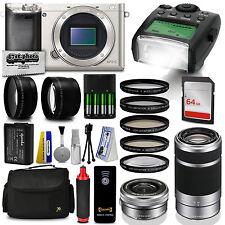 SonyAlpha a6000 Mirrorless Silver Digital Camera + 1x Battery + 64GB Memory Kit