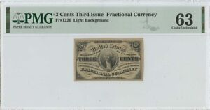Third Issue 3 Cents Fractional Light Background FR#1226 PMG 63