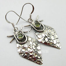 925 Pure Silver GREEN PERIDOT Gemset Earrings 4.4 CM MADE IN INDIA VINTAGE STYLE