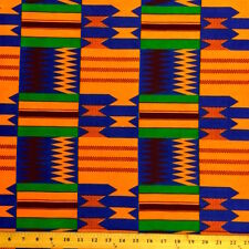 Kente African Print Fabric 100% Cotton 44'' wide sold by the yard (19004-3)