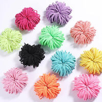 100Pcs Women Girls Elastic Rope Hair Ties Ponytail Holder Rubber Band Hairband