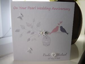 Personalised Pearl 30th Wedding Anniversary Card