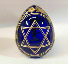 """Collectible Genuine Russian Glass Blue Egg Star of David on the back Menorah 3"""""""