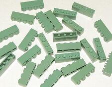 LEGO LOT OF 25 NEW SAND GREEN 1 X 4 BRICKS BUILDING BLOCKS PIECES