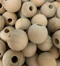Macramé ,Wooden Beads, 30 mm , Shaped Natural Beads - Hole 8 mm - 10 beads W191