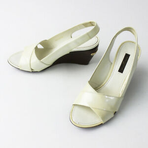 Louis Vuitton Sandals White Ivory Patent Leather Size 36 Heels Auth USED #2999A