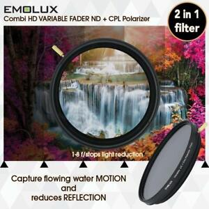 EMOLUX 82MM VARIO ND2-400 PLUS CPL POLARIZER 2 IN 1 FILTER POLARISER PLC PL-C
