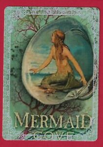 Beautiful Mermaid in a Shell -- Modern Wide Linen Swap Playing Card Lace Edge