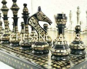 """12"""" Brass Metal Chess Pieces Set & Board Hand Carved With Storage Box SOVIET"""