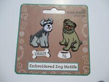 Dog Iron On Embroidered Applique Motif Patch Pug & Schnauzer Motifs
