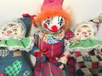 Vintage Set of 3 Handmade Cloth Clown Dolls 1 Larger Sock Face 2 Plush Stuffed