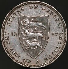 More details for 1877 h | jersey victoria one 48th of a shilling | bronze | coins | km coins
