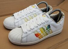 VINTAGE ADIDAS SUPERSTAR WHITE WITH MULTI LARGE LOGO TRAINERS IN SIZE 6 UK RARE