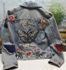 Gucci Embroidered Bleach Washed Denim Jacket - Size 38 / US 2
