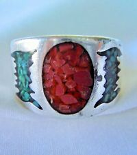 Vintage Men's .925 Sterling Silver Turquoise & Coral Ring, Size 10 - SHIPS FREE