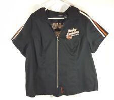 Womens Harley Davidson Black Garage Zipper 2W Shirt Motorcycle
