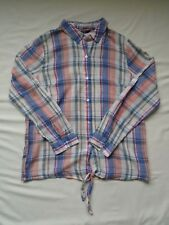 BNWT Multi coloured pastel check print long sleeved summer cotton blouse UK 12