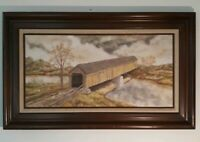 "VINTAGE Oil Painting by CAROL WEISS, Canvas Signed Framed ""Covered Bridge"" 24×38"