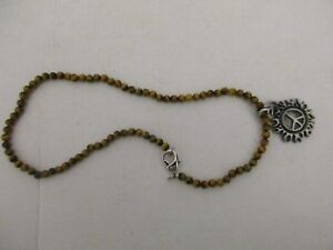 """Tiger Eye Stone Beaded Necklace W/ Pewter Celtic """"Peace On Fire"""" Pendant."""