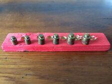 6 Gewichte Messing Bronze Holzblock Kaufmannsladen Antik Spielzeug Puppenstube