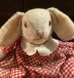 Rare Vintage Trudi Rabbit Bear Soft Toy. Topsy Turvy Upside Down Doll. Good Cond