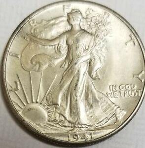 1941-P  WALKING LIBERTY HALF DOLLAR 90%SILVER **BEAUTIFUL COIN** **SEE PHOTOS **