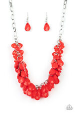 Colorfully Clustered Red Necklace By: Paparazzi