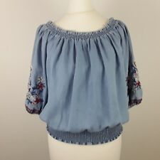 NEW LOOK DENIM LADIES WOMENS BLUE BARDOT OFF SHOULDER EMBROIDERED TOP SIZE 8