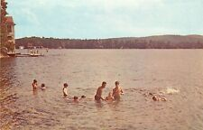 Chrome NH Postcard G155 Camp Notre Dame Lake Spofford Boating Swimming Swimmers