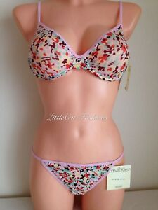 Calvin Klein frosted sheer Bra & String Thong 32 B thong size L Free P&P NWT