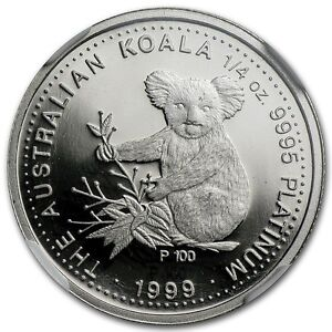 RARE COIN !~ 1999 ~ $25 PLATINUM PROOF ~ KOALA ~ 1/4~OZ ~ NGC PF~69 UC ~ $948.88