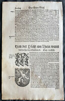 1574 Munster Antique Print Palatinate Pfalz Coat of Arms, Palatine Lion, Germany