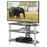 "Glass Tv Stand Media Entertainment Center 32""-55"" Inch Flat Screen Television"