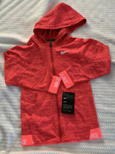 Girl's Size 6X Nike Dri-FIT Sports Hoodie Long Sleeve Full Zíp Pockets Hot Punch