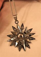 Sculpted Darktone Stainless Steel Compass Directional Anime Star Silver Necklace