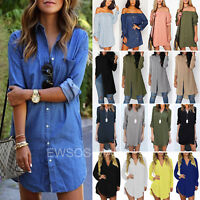 Womens Long Sleeve Blouse Ladies Casual Loose Short Mini Shirt Dress Tunic Tops