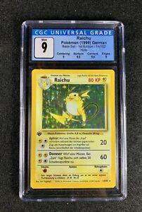 Pokemon 🇩🇪 German🇩🇪 Base Set 1st Edition Holo Raichu #14 STRONG CGC 9 Mint