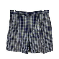 Nautica Nantucket Mens Shorts Size 36 Plaid With Pockets Blue Faded