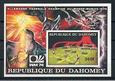 BENIN-DAHOMEY Bl.49B ** FUSSBALL-WM 1974 UNGEZÄHNT ME 30,-++ (129439)