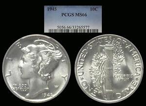1945 Mercury Dime graded MS66 by PCGS.
