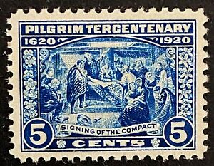 US Stamp, Scott #550 5c 1920 Pilgrim Issue Signing of the Compact  XF M/NH