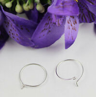100PCS Silver Tone Wine Glass Charm Wire Hoop Earings 20mm #22528