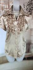 Lush Shiny Gold Ruffle Satin Blouse Shirt UK M  NWT   [E97