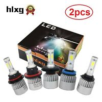 2Pcs H4 LED H7 H11 H8 9006 HB4 COB S2 Car Headlight 72W 8000LM 6500K Bulb Lamp