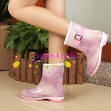 Korean Women Ladies Rain Boot Waterproof Shoes Rubber Wellies Mid-calf Boots New