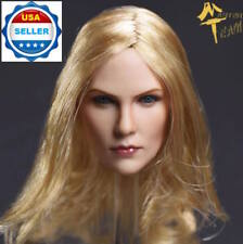 1/6 American Female Blonde Hair Head Sculpt PALE For Hot Toys Phicen Figure USA
