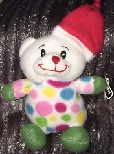 "10"" Plush Bear Wearing Pastel Polkadots With Red Santa Hat"