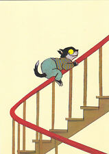 RARE Cat slides down the banisters by Wolf Erlbrush Russian modern postcard