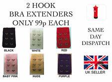2 HOOK BRA EXTENDER/EXTENSION BLACK,WHITE, NUDE, RED, BABY PINK, PURPLE