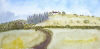Aquarell Gemälde - Landschaft Natur Bäume Heide - Kunstwerk Unikat Bild Malerei